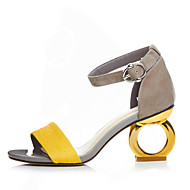Damen Sandalen PU Frühling Sommer Schnalle Blockabsatz Schwarz Gelb Farbbildschirm 5 - 7 cm