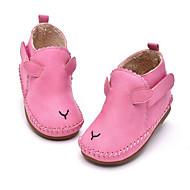 女の子 フラット 赤ちゃん用靴 レザーレット PUレザー 春 秋 カジュアル ウォーキング 赤ちゃん用靴 面ファスナー ローヒール ピンク ライトブラウン フラット