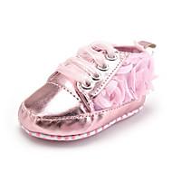 キッズ 赤ちゃん スニーカー 赤ちゃん用靴 化繊 繊維 秋 冬 カジュアル ドレスシューズ パーティー 赤ちゃん用靴 リボン紐 フラワー フラットヒール ピンク フラット