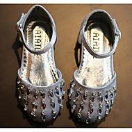 女の子 フラット 赤ちゃん用靴 レザーレット PUレザー 春 秋 日常 ウォーキング 赤ちゃん用靴 面ファスナー ローヒール ブラック グレー レッド フラット