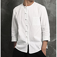 Erkek Pamuklu Keten ¾ Kol Uzunluğu Yuvarlak Yaka Solid Sade Çin Stili Günlük-Erkek Gömlek