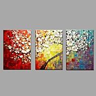 Kézzel festett Virágos / Botanikus Vízszintes,Modern Rusztikus Három elem Vászon Hang festett olajfestmény For lakberendezési