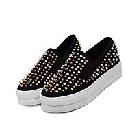 נשים נעליים ללא שרוכים עור סוויד מיקרופייבר אביב שחור פוקסיה צבע מסך שטוח