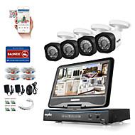 Sannc® 8ch 4pcs hd 720p dvr weerbestendig beveiligingssysteem lcd monitor ondersteund analoge ahd tvi ip camera