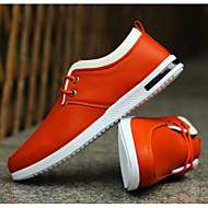 Herrer Sneakers Komfort PU Forår Afslappet Sort Orange Blå Flad