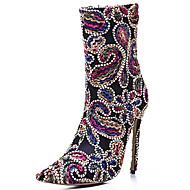 Для женщин Ботинки Пляжная обувь Ткань Осень Зима Для офиса Для праздника Повседневный Для вечеринки / ужина Модная обувь Молнии ЦветыНа