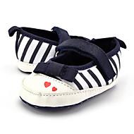 ילדים תינוק נעליים ללא שרוכים צעדים ראשונים סינטתי בד קיץ סתיו קזו'אל שמלה מסיבה וערב צעדים ראשונים פפיון אבזם עקב שטוח שחור אדום שטוח