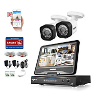 SANNCE® 4CH 2PCS 1080P LCD DVR Weatherproof Security System Supported Analog AHD TVI IP Camera Without HDD