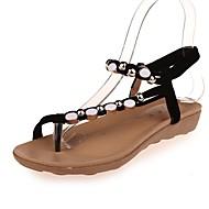 Feminino Sandálias Chanel Rasteirinhas Tira no Tornozelo Solados com Luzes Tira em T Conforto Bailarina Courino Verão OutonoEscritório &