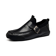 Men's Loafers & Slip-Ons Moccasin Comfort Leather Spring Summer Outdoor Office & Career Casual Buckle Black Flat