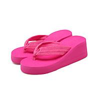 Для женщин Тапочки и Шлепанцы Удобная обувь Ткань Лето Повседневные Удобная обувь На танкетке Черный Красный На плоской подошве