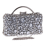 Women Evening Bag Polyester All Seasons Wedding Event/Party Formal Party & Evening Club Minaudiere Rhinestone Crystal Clasp LockSilver