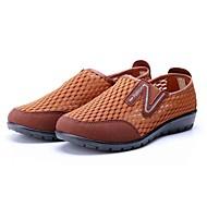 Kadın Mokasen & Bağcıksız Ayakkabılar Rahat Tül Bahar Yaz Günlük Yürüyüş Rahat Düz Topuk Kahverengi Drak Red 1inç Altı