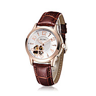 Dames Modieus horloge mechanische horloges Automatisch opwindmechanisme Leer Band Bruin
