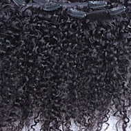 Kinky Curly 7pieces / Set clip in menselijke haaruitbreidingen Indian Remy Hair Natural Color 120g / set