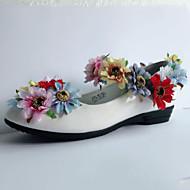 בנות-שטוחות-עור פטנט-נוחות חדשני נעלי ילדת הפרח-לבן-חתונה שמלה מסיבה וערב-עקב שטוח