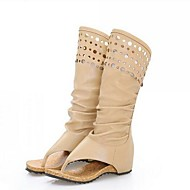 Women's Boots Comfort Fashion Boots PU Summer Casual Comfort Fashion Boots Khaki Beige 2in-2 3/4in