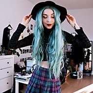 Kadın Uzun Yeşil Saç Sentetik Saç Ön Dantel Doğal Peruk