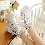 Feminino Sapatos Couro Ecológico Primavera Conforto Tênis Salto Grosso Anabela Com Para Casual Branco Bege