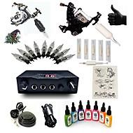 スタータータトゥーキット 2 xライニングとシェーディング用鋼入れ墨機械 LCD電源 5×タトゥー針RL3 コンプリートキット