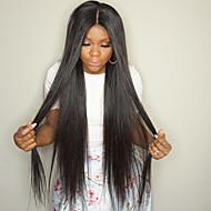 Női Emberi hajból készült parókák Brazil Emberi haj Csipke eleje Sűrűség Tincselve Egyenes Paróka Jet Black Fekete Sötétbarna Mediumt