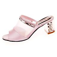 Női Szandálok Kényelmes PU Nyár Hétköznapi Gyalogló Kényelmes Alacsony Fehér Rózsaszín 1 inch-1 3 / 4 inch