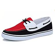 Férfi Vitorlás cipők Gyalogló Kényelmes Szövet Tavasz Ősz Hétköznapi Kombinált Lapos Szürke Kék Fekete/Vörös Lapos