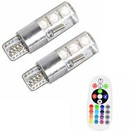 2шт t10 w5w 5050 smd rgb автомобильная лампа для чтения клина лампа 6 светодиодов 16 цветов светодиодная лампа / стробоскопия с пультом