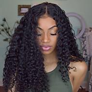 Naisten Aitohiusperuukit verkolla Aidot hiukset Full Lace Liimaton kokoverkko 130% Tiheys Kihara Peruukki Jet Black Musta Tummanruskea