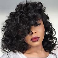 뜨거운!! 짧은 밥 곱슬 레이스 프런트 가발 8-30inch 자연 블랙 컬러 여성용 아기 머리카락과 브라질 인간의 머리 가발