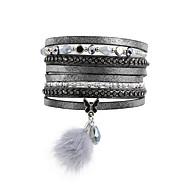 Dames Wikkelarmbanden Lederen armbanden Luxe Sieraden Leder Acryl Strass imitatie Diamond Legering Dierenvorm Drop Vlinder Grijs Sieraden