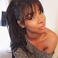Naisten Aitohiusperuukit verkolla Aidot hiukset Full Lace 130% Tiheys Luonnolliset aaltoilevat Peruukki Musta Lyhyt Keskikokoinen Pitkä