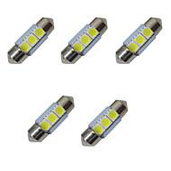 5pcsダブル尖ったledライト31mm 1w 3smd 5050チップ80-100lm 6500-7000k dc12vライトナンバープレートライト