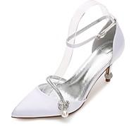 Feminino Sapatos De Casamento Conforto MaryJane D'Orsay Plataforma Básica Tira no Tornozelo Cetim Primavera VerãoCasamento Social Festas