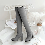 Women's Shoes PU Fall Winter Comfort Boots Platform Round Toe With For Casual Black Gray