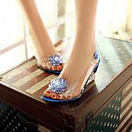 Damen Schuhe PU Sommer Komfort Sandalen Keilabsatz Offene Spitze Mit Für Normal Weiß Rot Blau