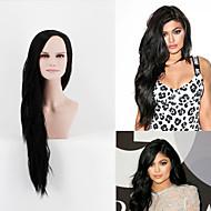 Femei Peruci Sintetice Fără calotă Lung Foarte lung Drept Negru Partea laterală Perucă Cosplay Celebritate Wig costum Peruci
