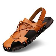Muške Sandale Udobne cipele Ljeto Jesen Mekana koža Cipele za vodu Formalne prilike Crn Svjetlosmeđ 2.5 cm - 4.5 cm
