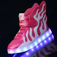 Para Meninos Tênis Tênis com LED Couro Primavera Verão Outono Inverno Atlético Casual Caminhada Tênis com LED Velcro LED Salto Baixo