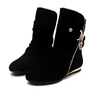 Women's Shoes Fleece Winter Fashion Boots Boots Flat Heel Booties/Ankle Boots For Casual Black Purple Yellow Red