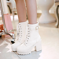 Women's Shoes PU Spring Fall Comfort Boots Chunky Heel Round Toe With For Casual White Black Brown