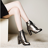 Damen Schuhe PU Frühling Herbst Komfort High Heels Blockabsatz Runde Zehe Mit Für Normal Schwarz Silber