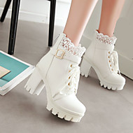 Women's Shoes PU Winter Comfort Boots Chunky Heel Platform Round Toe With For Casual White Black