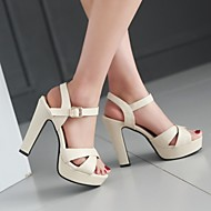 Women's Shoes PU Spring Comfort Heels Stiletto Heel Peep Toe With For Casual White Black Blushing Pink