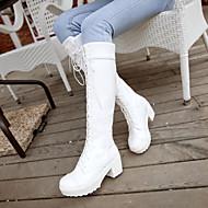 Feminino Sapatos Couro Ecológico Primavera Conforto Botas Salto Grosso Ponta Redonda Com Para Casual Branco Preto