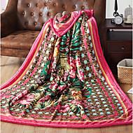 Coral fleece Plants Polyester/Cotton Blend Blankets