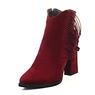 レディース ブーツ ファッションブーツ レザーレット 冬 カジュアル ドレスシューズ タッセル ジッパー チャンキーヒール ブラック ベージュ グレー レッド 3~3 3/4インチ