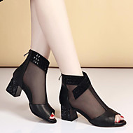 Для женщин Ботинки Удобная обувь Кожа Лето Повседневные Удобная обувь На толстом каблуке Блочная пятка Золотой Черный 2,5 - 4,5 см
