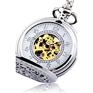 Men's Pocket Watch Automatic self-winding Hollow Engraving Alloy Band Vintage Silver