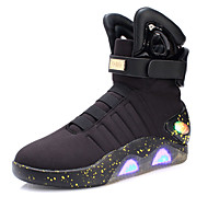 メンズ ブーツ ウォーキング アイデア ライトアップシューズ ニット レザー チュール 秋 冬 カジュアル かぎホック LED ローヒール ブラック ベージュ 1インチ以下